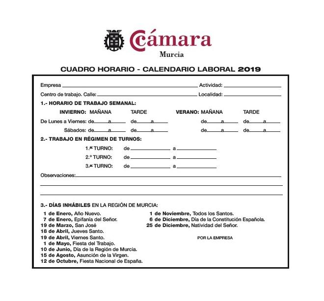 Calendario 2019 Murcia.Calendario Laboral 2019 Camara De Comercio De Murcia