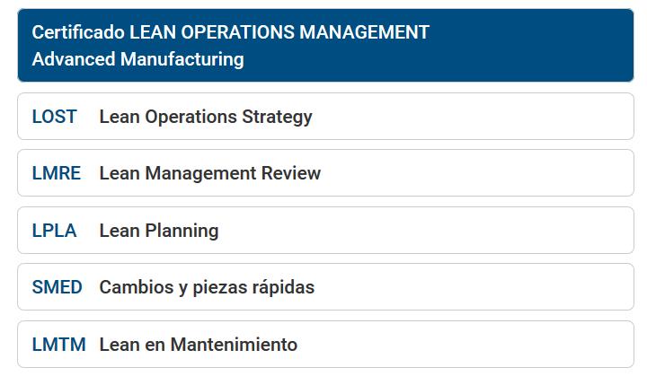Certificado Lean Operations Management Avanzado Manufacturing - Cámara de Comercio de Murcia
