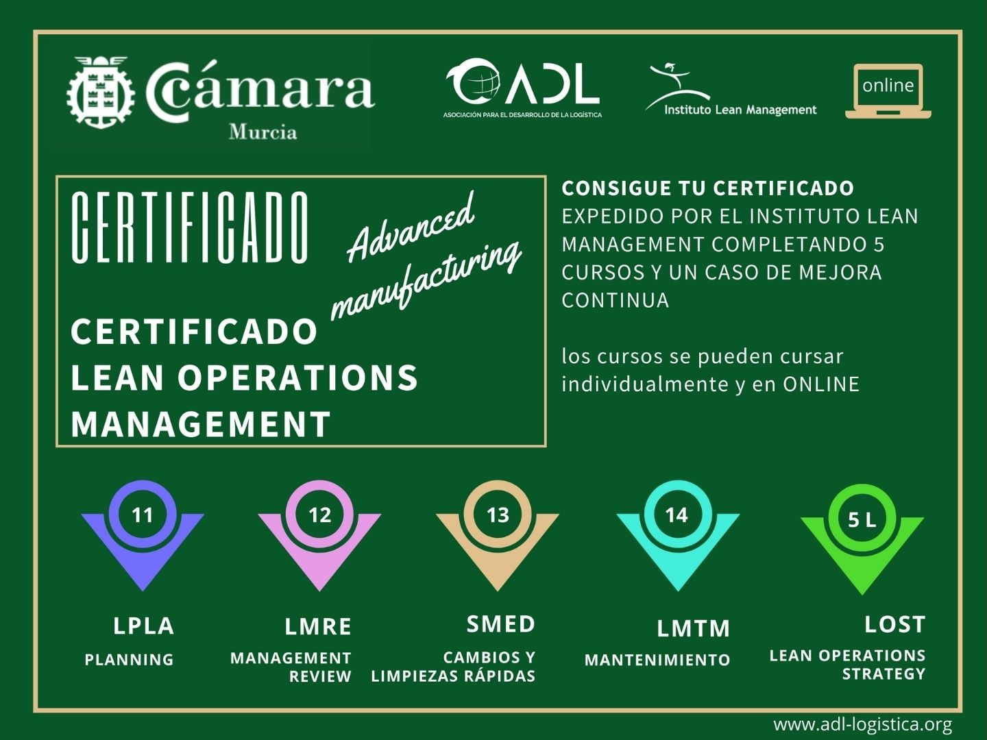Certificado Lean Operations Management - Cámara Comercio Murcia